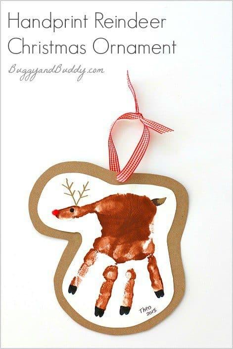 20 Fun Handprint Art Activities for Kids - The Flying Couponer  Reindeer Handprint Ornament