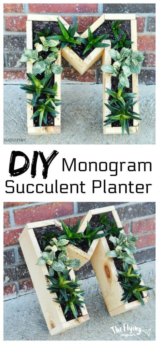 DIY Monogram Succulent Planter
