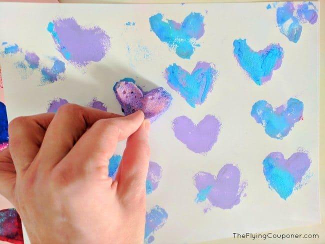 Valentine's Day Sponge Art