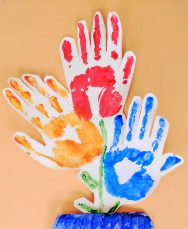 Kids Crafts for Mother's Day using hand print to make flower bouquet