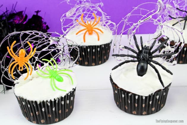 Spun Spider Web Halloween Cupcakes